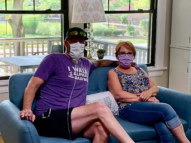 Man and woman inside transplant house